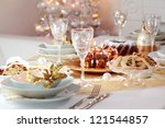 Decorated Christmas Table With...