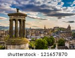 View from Calton Hill in sunny day - stock photo