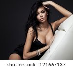 Fashion portrait of beautiful brunette woman - stock photo