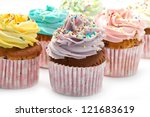 colored Cupcakes - stock photo
