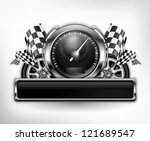 Racing emblem, speedometer, checkered flags and wheels on white, vector illustration - stock vector