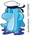 vector illustration- cartoon funny dolphin sailor in peak less cap salutes on white background - stock vector