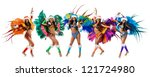 Group of smiling beautiful girls in a colorful carnival costume - stock photo