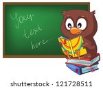 vector illustration-  cartoon little funny owl in class room near the  blackboard - stock vector