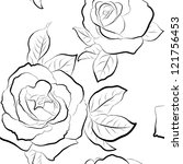 roses seamless wallpaper. black ... | Shutterstock .eps vector #121756453