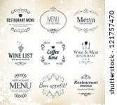 Label set for restaurant menu design - stock vector