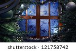 Happy New Year and Merry Christmas interior scene with frost window - stock photo