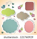cute sticker set - stock vector