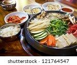 happy with korea food....   Shutterstock . vector #121764547
