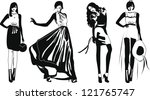 silhouette fashion girls | Shutterstock .eps vector #121765747