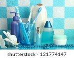 bath accessories on shelf in... | Shutterstock . vector #121774147