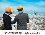 businessmen in hardhats taking... | Shutterstock . vector #121786153