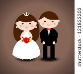 wedding couple. vector... | Shutterstock .eps vector #121823203