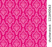 seamless hot pink   white damask   Shutterstock . vector #121840063