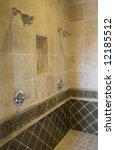 luxurious tiled shower in a... | Shutterstock . vector #12185512