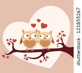 owls in love sitting on a tree  ... | Shutterstock .eps vector #121855267