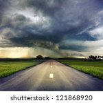 the road to storm - stock photo