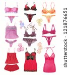 collection of fashionable women's lingerie - stock photo