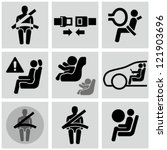 Car safety belt icons. Baby in car. - stock vector
