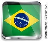 Vector - Brazil Flag Smartphone Application Square Buttons - stock vector