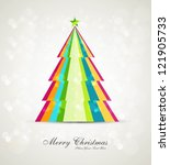 merry christmas stylish tree... | Shutterstock .eps vector #121905733