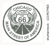 Abstract grunge rubber stamp with the text Route 66, Chicago, vector illustration - stock vector