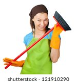 young woman with broom - stock photo