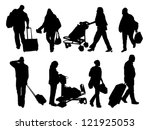 silhouettes of people with... | Shutterstock .eps vector #121925053