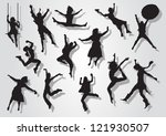 jumping silhouettes | Shutterstock .eps vector #121930507