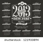 Calendar made in vintage style, vector illustration, lucky 2013, happy new year. - stock vector
