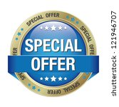 special offer blue gold button... | Shutterstock .eps vector #121946707