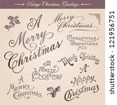 Set of vintage Christmas greetings, calligraphic lettering, vector - stock vector