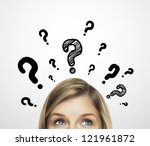 thinking women with question mark on white background - stock photo