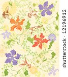 seamless wallpaper with flowers ...   Shutterstock .eps vector #12196912