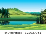 Vector summer landscape with green grass, forest, lake and hill on a blue sky background - stock vector