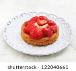 Beauty strawberry cake - stock photo