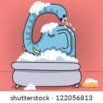 Elephant Taking Bath In Bathtub