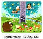 Animals and tree. Vector and cartoon illustration - stock vector