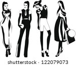 silhouette fashion girls | Shutterstock .eps vector #122079073