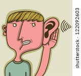 man with big hear listening a distant sound - stock vector