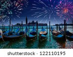Festive fireworks over the Canal Grande in Venice - stock photo