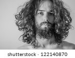 art portrait of handsome man - stock photo