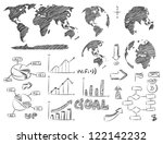 Detail Infographic Vector Illustration Sketched. World Map and Information Graphics, EPS 10. - stock vector