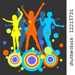 female dancing silhouettes and... | Shutterstock .eps vector #12215731