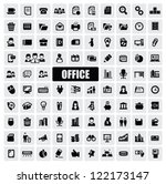 vector black office icons set...