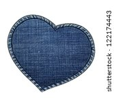 Jeans texture Heart shape - stock photo