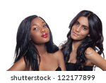 beautiful African American and Indian teenage girls with long black hair isolated on studio white background - stock photo