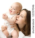 Mother's love. Cute baby with mother. - stock photo