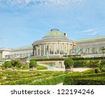 Historical Botanique public garden in center of Brussels, Belgium - stock photo