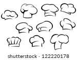 White chef hats and caps set in cartoon style, such a logo template. Jpeg version also available in gallery - stock vector